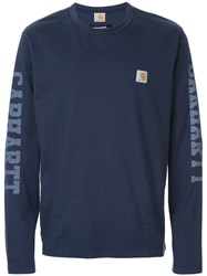 Junya Watanabe Comme Des Garcons Man Printed Sleeve Jumper Blue