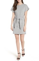Lush Tie Waist T Shirt Dress Heather Grey