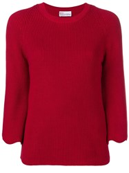 Red Valentino Scalloped Sleeve Jumper Red