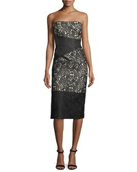 Rubin Singer Strapless Satin Cocktail Dress With Lace Overlay Black
