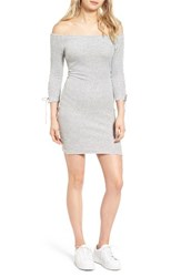 Juicy Couture Women's Off The Shoulder Stretch Velour Body Con Dress Silver Lining