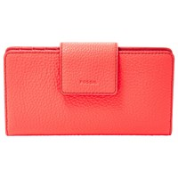 Fossil Emma Leather Tab Clutch Purse Neon Coral