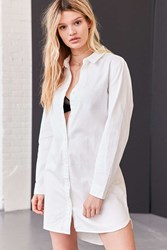 Bdg Button Down Shirt Mini Dress White