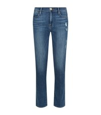 Frame Le High Rise Straight Distressed Jeans Female Blue