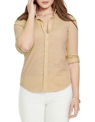 Lauren Ralph Lauren Plus Elizabeth Cotton Pique Button Front Shirt Cobra