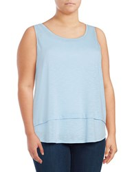 Lord And Taylor Plus Heathered Sleeveless Tank Top Blue