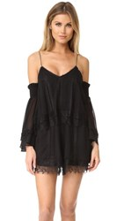 Nicholas Georgette Lace Trim Romper Black