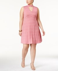Ing Trendy Plus Size Cutout A Line Dress Red Chambray