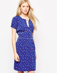Trollied Dolly Orient Express Dress In Butterfly Print Navy