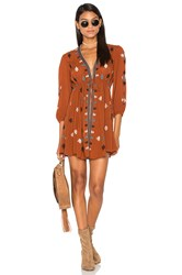 Free People Star Gazzer Embroidered Dress Rust