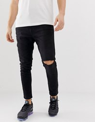 Bershka Carrot Fit Jeans With Rips In Black