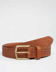 Asos Leather Belt With Plait Emboss Tan