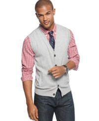 Club Room Sweater Vest Solid V Neck Button Front Crew Blue