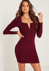 Missguided V Bar Plunge Long Sleeve Bodycon Dress Burgundy Burgundy