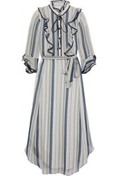 Mikael Aghal Woman Belted Ruffle Trimmed Striped Georgette Midi Dress Storm Blue