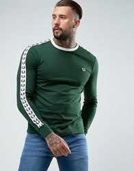 Fred Perry Slim Fit Sports Authentic Taped Long Sleeve T Shirt In Ivy Green Ivy Green