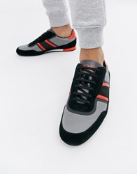Boss Lighter Lowp Flash Suede Mix Trainers In Black