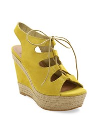 Andre Assous Cassie Espadrille Wedge Suede Sandals Yellow