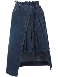 Sacai Denim Pleated Panel Wrap Skirt Women Cotton 3 Blue