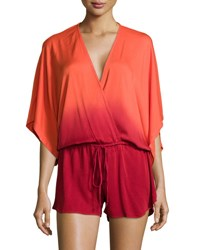 Young Fabulous And Broke Maddie Ombre Wrap Romper Redorange