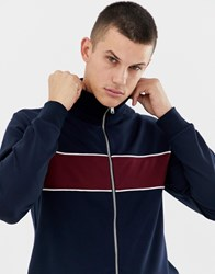 Selected Homme Tracksuit Jacket With Block Stripe Dark Sapphire Navy