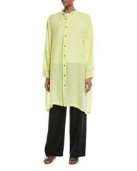 Eskandar Wide Mandarin Collar Linen T Shirt Yellow