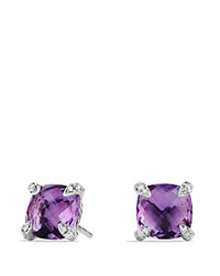 David Yurman Chatelaine Earrings With Amethyst And Diamonds Purple Silver