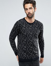 Only And Sons Knitted Camo Crew Neck Raven Black