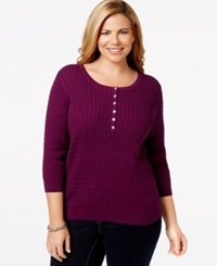 Karen Scott Plus Size Marled Cable Knit Sweater Only At Macy's Purple Passion Marble