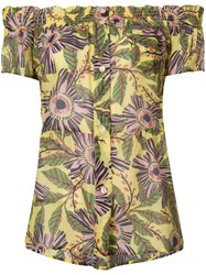 Red Valentino Floral Print Short Sleeved Shirt Women Silk Cotton 40 Yellow Orange