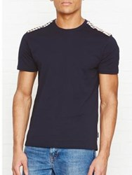 Aquascutum London Noel Club Check Detail T Shirt Navy