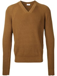 Christophe Lemaire Ribbed Trim Jumper Brown