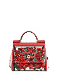 Dolce And Gabbana Mini Embellished Sicily Leather Bag Gerani