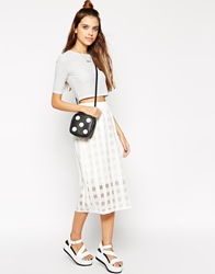 Motel Himalayan Midi Skirt In Sheer White Check