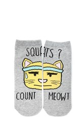 Forever 21 Squats Count Meowt Ankle Socks Grey Multi