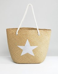 South Beach Natural Straw Bag With Silver Star Multi