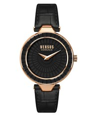 Versus By Versace Sertie Rose Goldtone Black Leather Strap Watch Sq1120015