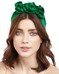 Jennifer Behr Rosette Silk Satin Headband Green