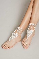 Forever 21 Crochet Foot Chain Set White