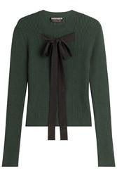 Rochas Wool Blend Pullover With Ribbon Front Green