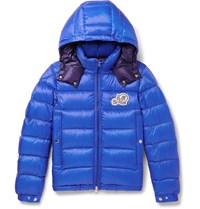 Moncler Bramant Quilted Shell Hooded Down Jacket Blue
