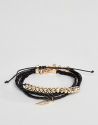 Asos Bracelet Pack With Feather Multi Black