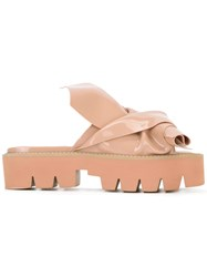 N 21 No21 Flat Bow Platform Sandals Nude Neutrals