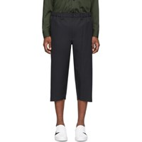 Issey Miyake Black Pleated Cropped Trousers