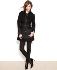 Guess Hooded Colorblock Wool Blend Walker Coat