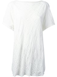 Y's Quilted Creased T Shirt Women Cotton 2 White