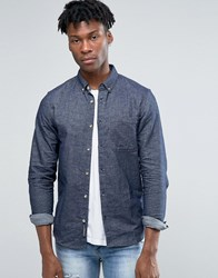 Pull And Bear Pullandbear Denim Shirt In Dark Wash Blue In Regular Fit Blue