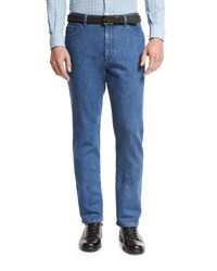Ermenegildo Zegna Japanese Denim Straight Leg Jeans Medium Blue Nvy Sld