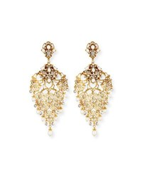 Jose And Maria Barrera Golden Crystal Chandelier Clip On Earrings Yellow White