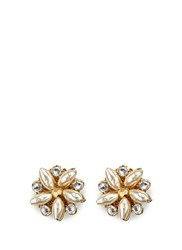 Miriam Haskell Crystal Glass Pearl Floral Stud Earrings White Metallic
